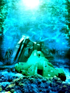 Submerged ruined church